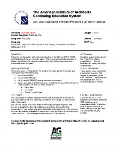 CEU Program – Summary