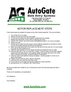 motor replacement & Oil instructions 2014