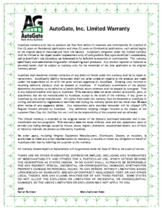 AutoGate Limited Warranty