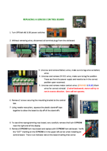 GENESIS Control Board Replacement Instructions